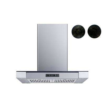 30 in. Convertible Island Mount Range Hood in Stainless Steel and Glass with Baffle Filters and Carbon Filters