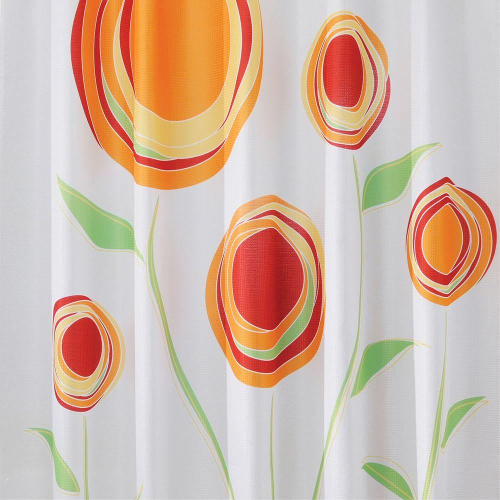 Shower Curtain In Red Orange Marigold