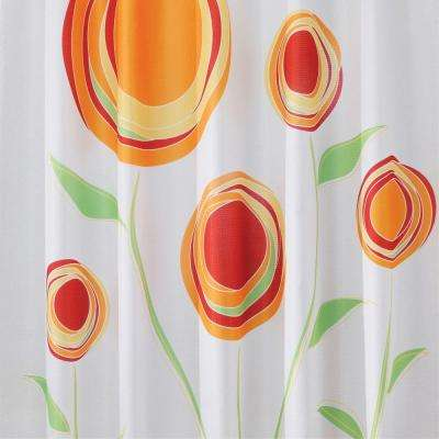 Shower Curtain in Red/Orange Marigold