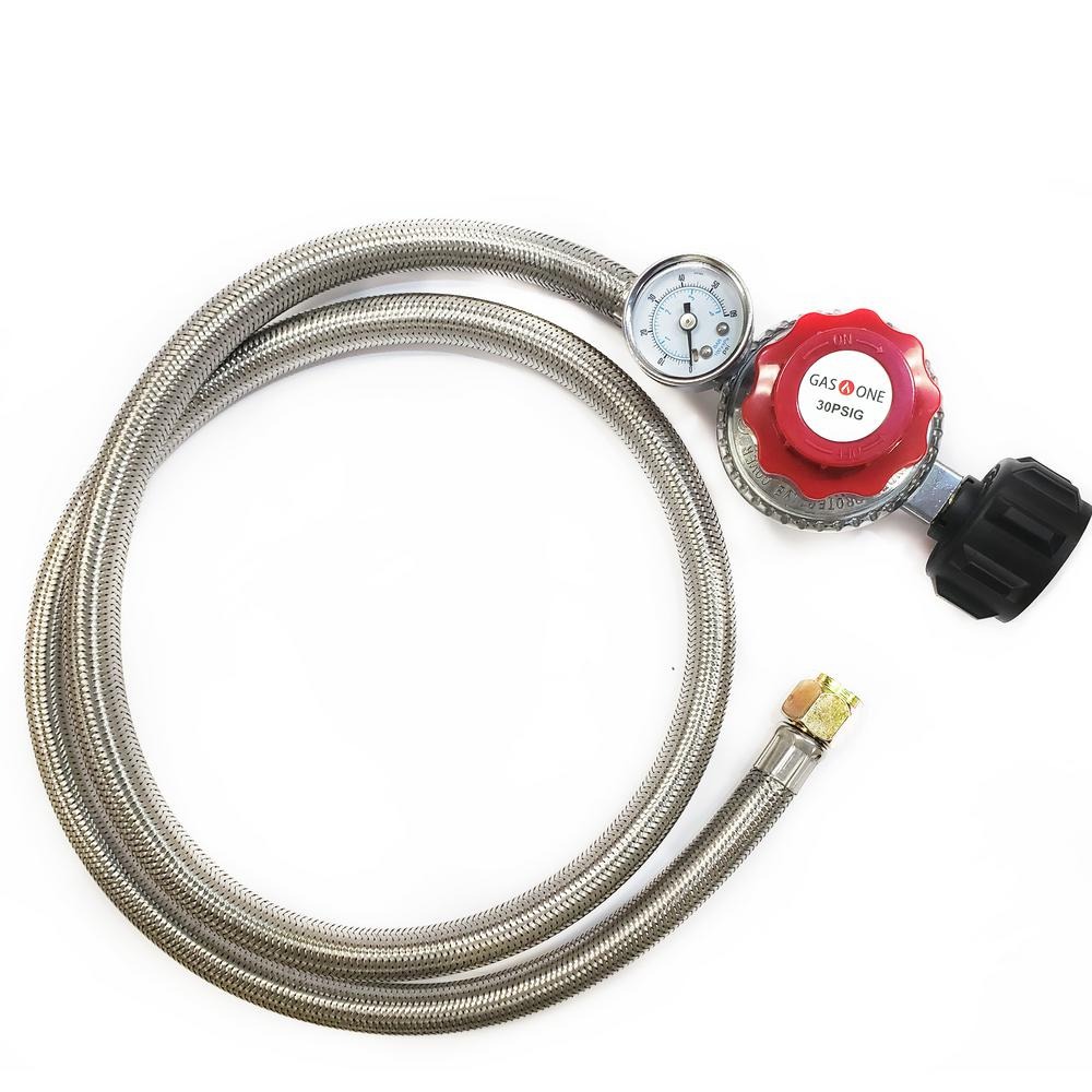 Outdoor Cooker Accessory High Pressure Hose Replacement 10 PSI Regulator 4 ft