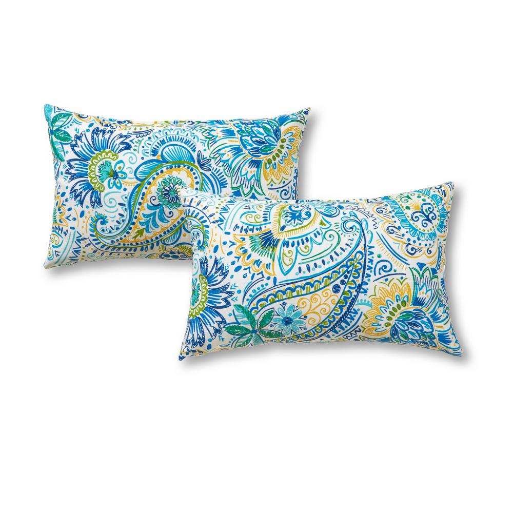 Greendale Home Fashions Baltic Paisley Lumbar Outdoor Throw Pillow (2-Pack)