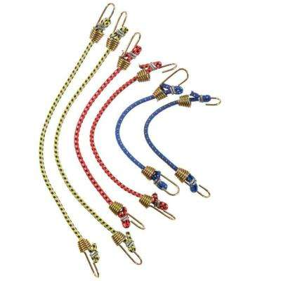 2-6 in., 2-8 in., 2-10 in.Mini Bungee Cords 6-Pieces