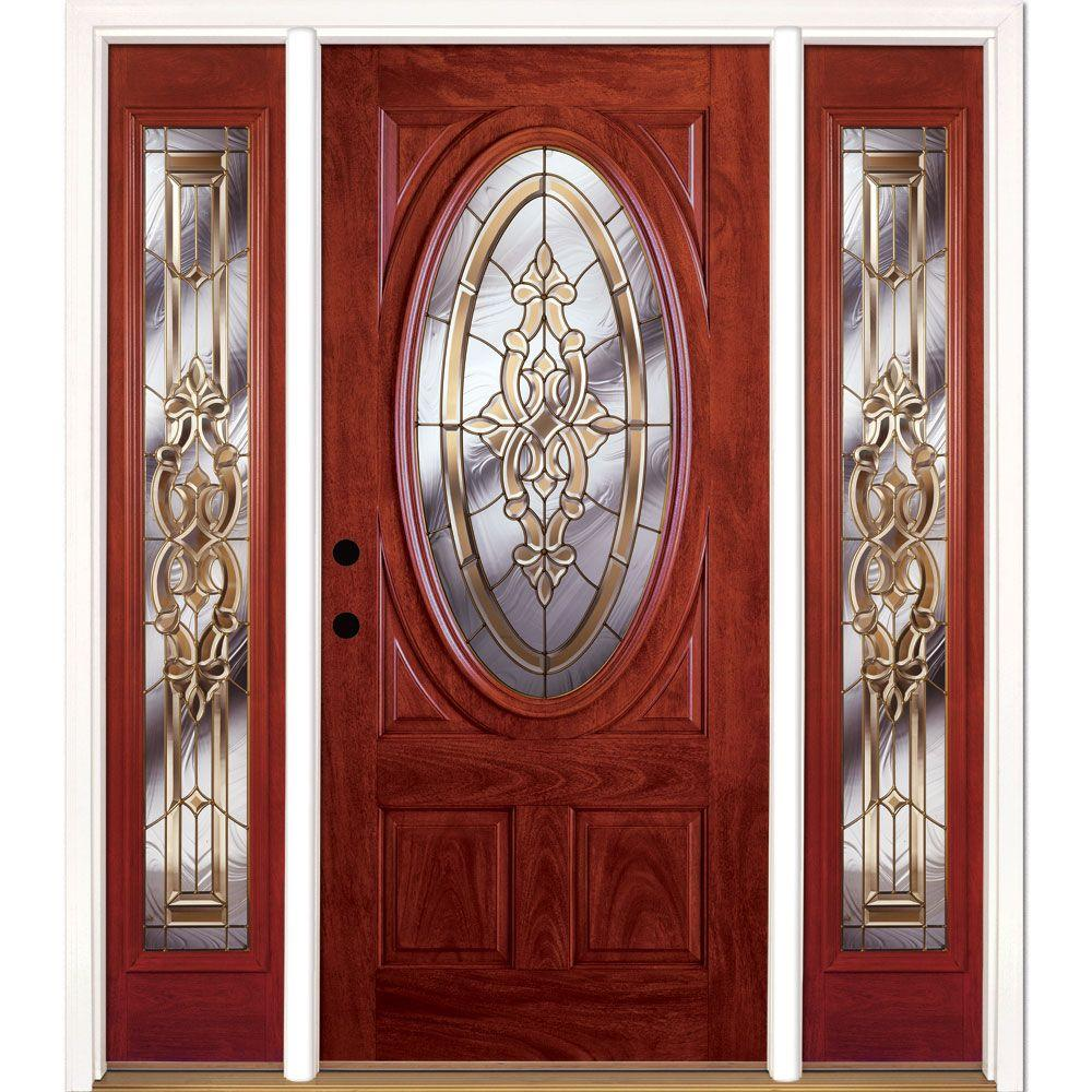 63.5 in.x81.625in.Silverdale Brass 3/4 Oval Lt Stained Cherry Mahogany Rt-Hd
