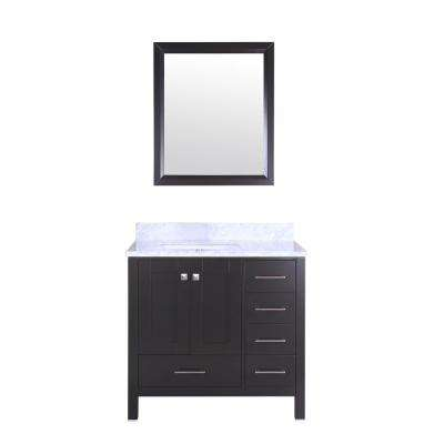 Shaker 36 in. W x 22 in. D x 34 in. H Vanity in Espresso with Carrara Marble Top in White with White Basin