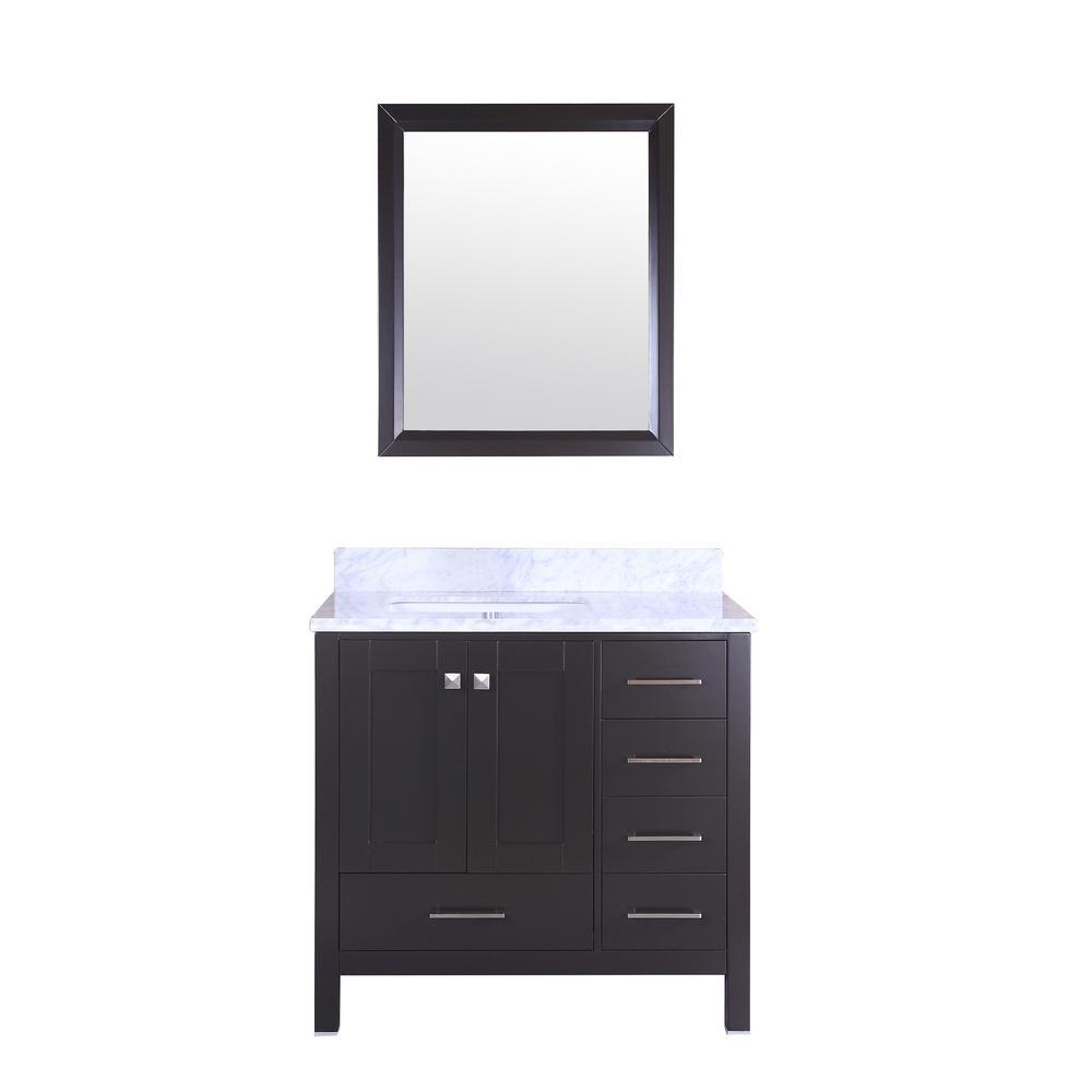 Shaker 30 in. W x 30 in. H Framed Wall Mounted Vanity Bathroom Mirror in Espresso