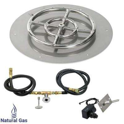 18 in. Round Stainless Steel Flat Pan with Spark Ignition Kit - Natural Gas (12 in. Ring Burner Included)