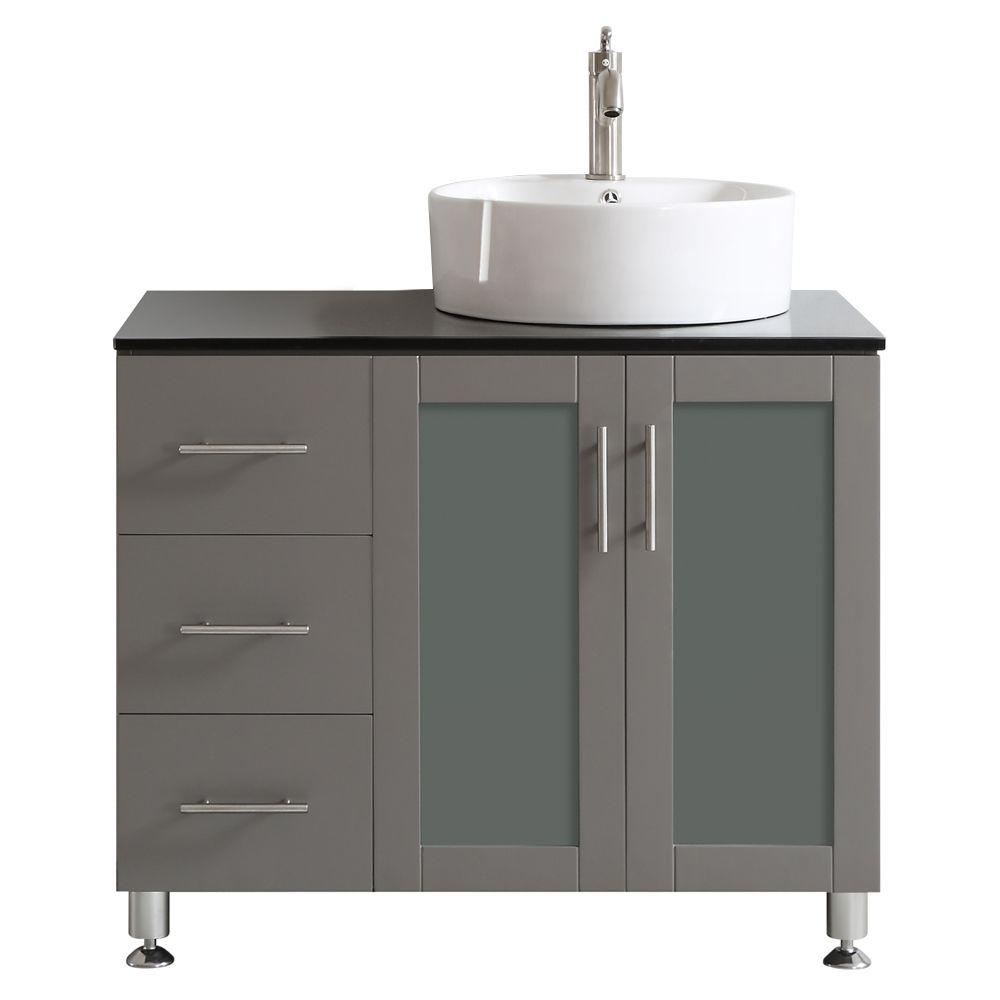 Vinnova Tuscany 36 In W X 22 In D X 30 In H Vanity In Grey With Glass Vanity Top In Black