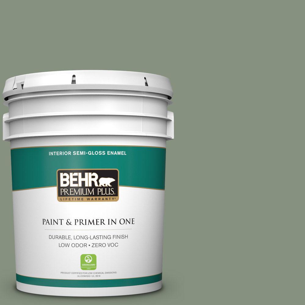 BEHR Premium Plus 5-gal. #N390-5 Eucalyptus Wreath Semi-Gloss Enamel Interior Paint