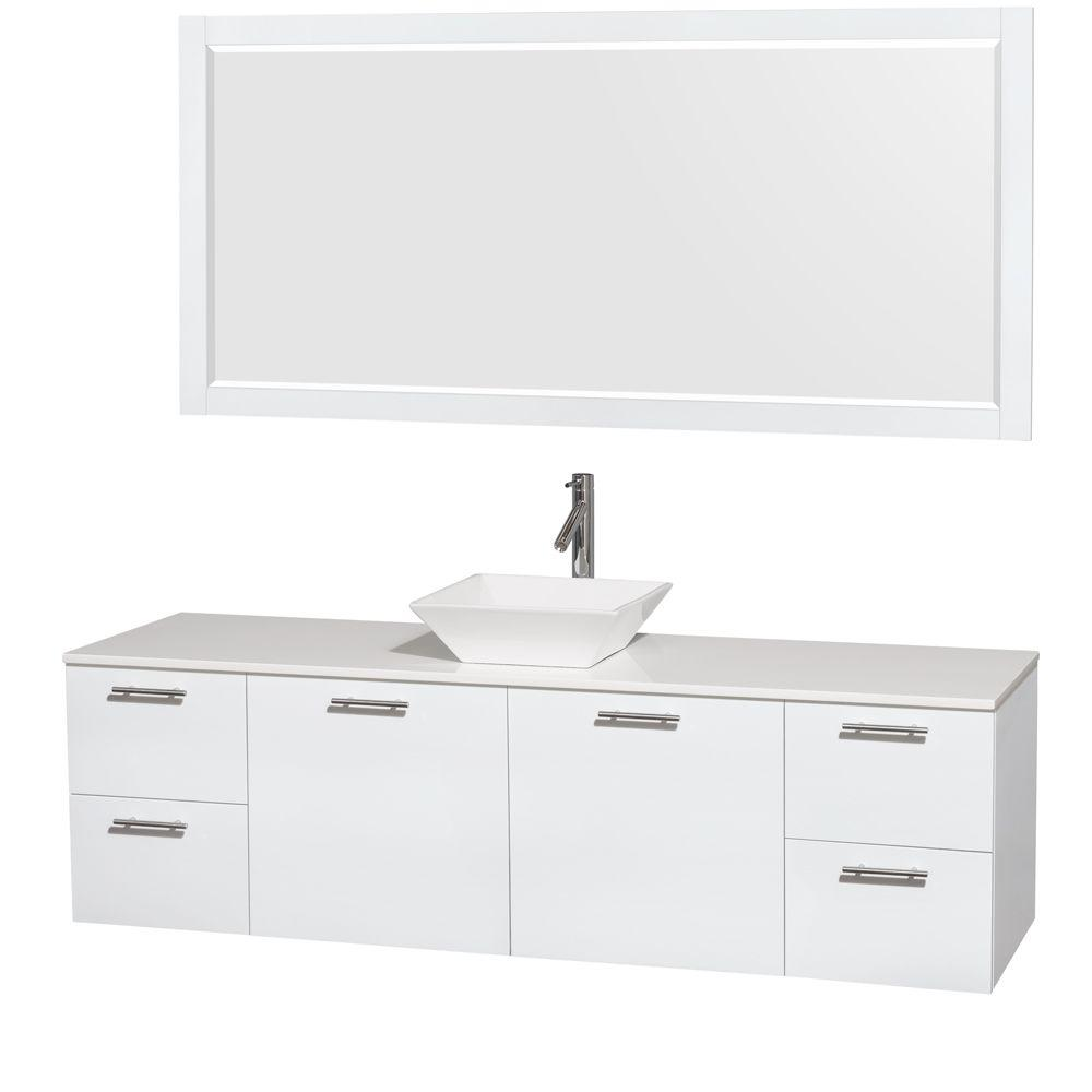 Wyndham Collection Amare 72 in. Vanity in Glossy White with Solid-Surface Vanity Top in White, Porcelain Sink and 70 in. Mirror