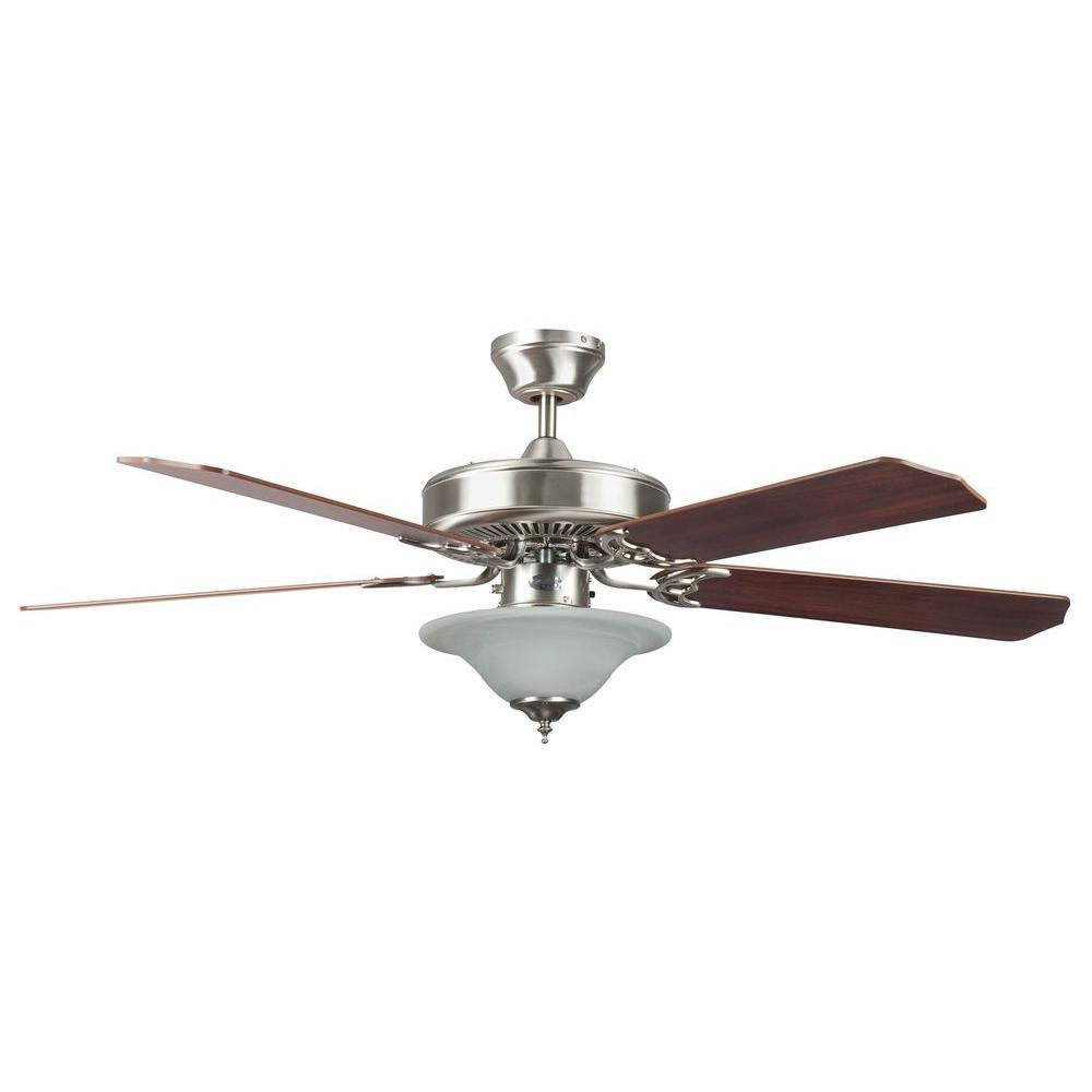Heritage Square Series 52 in. Indoor Stainless Steel Ceiling Fan