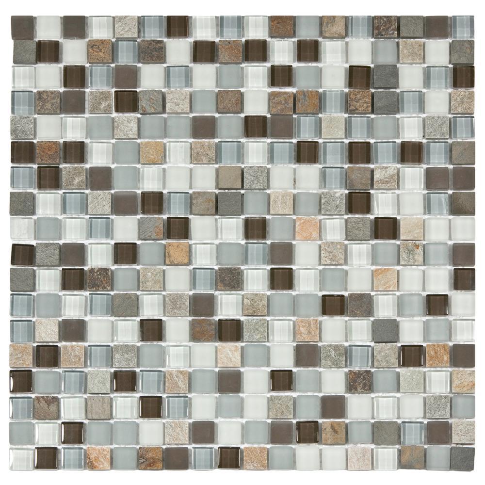 Merola Tile Tessera Mini Tundra 11-3/4 in. x 11-3/4 in. x 8 mm Glass and Stone Mosaic Tile