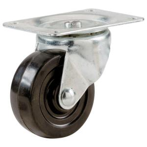 2-1/2 in. Soft Rubber Swivel Plate Caster with 100 lbs. Load Rating