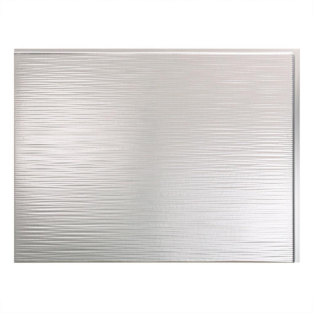 24 in. x 18 in. Ripple PVC Decorative Backsplash Panel in Brushed Aluminum
