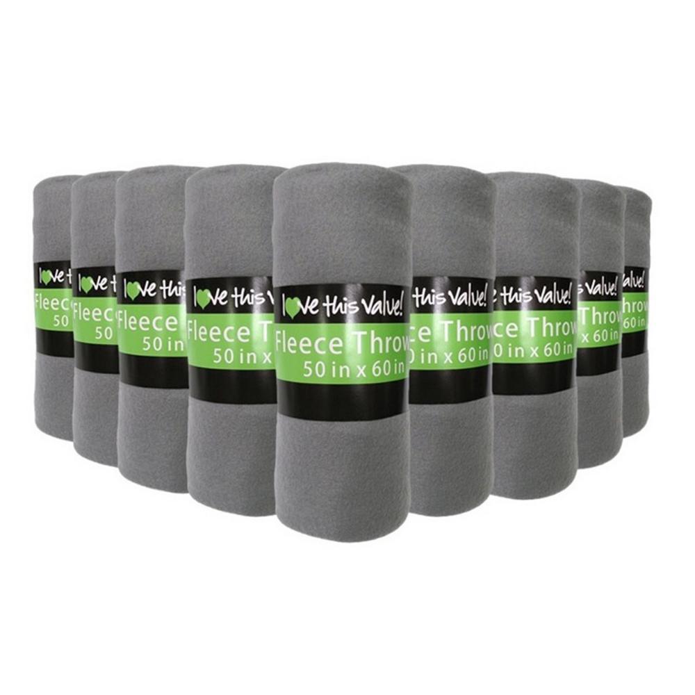 50 in. x 60 in. Gray Super Soft Fleece Throw Blanket (12-Pack)
