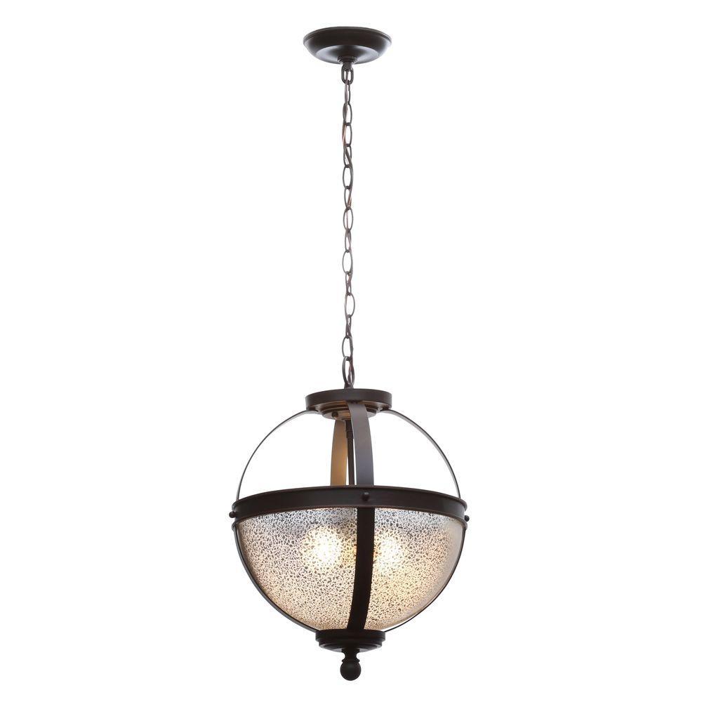 Sfera 13.5 in. W. 2-Light Autumn Bronze Semi-Flush Mount Convertible Pendant with Mercury Glass
