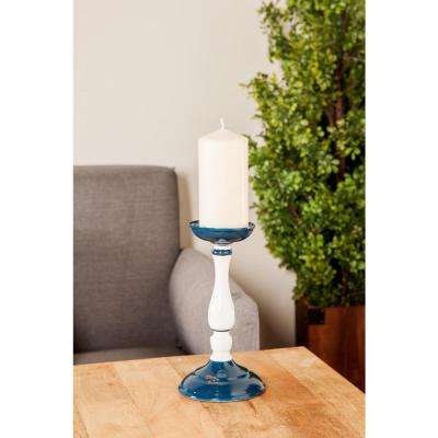 White Iron Baluster-Shaped Candle Holders with Blue Base and Bobeche (Set of 3)