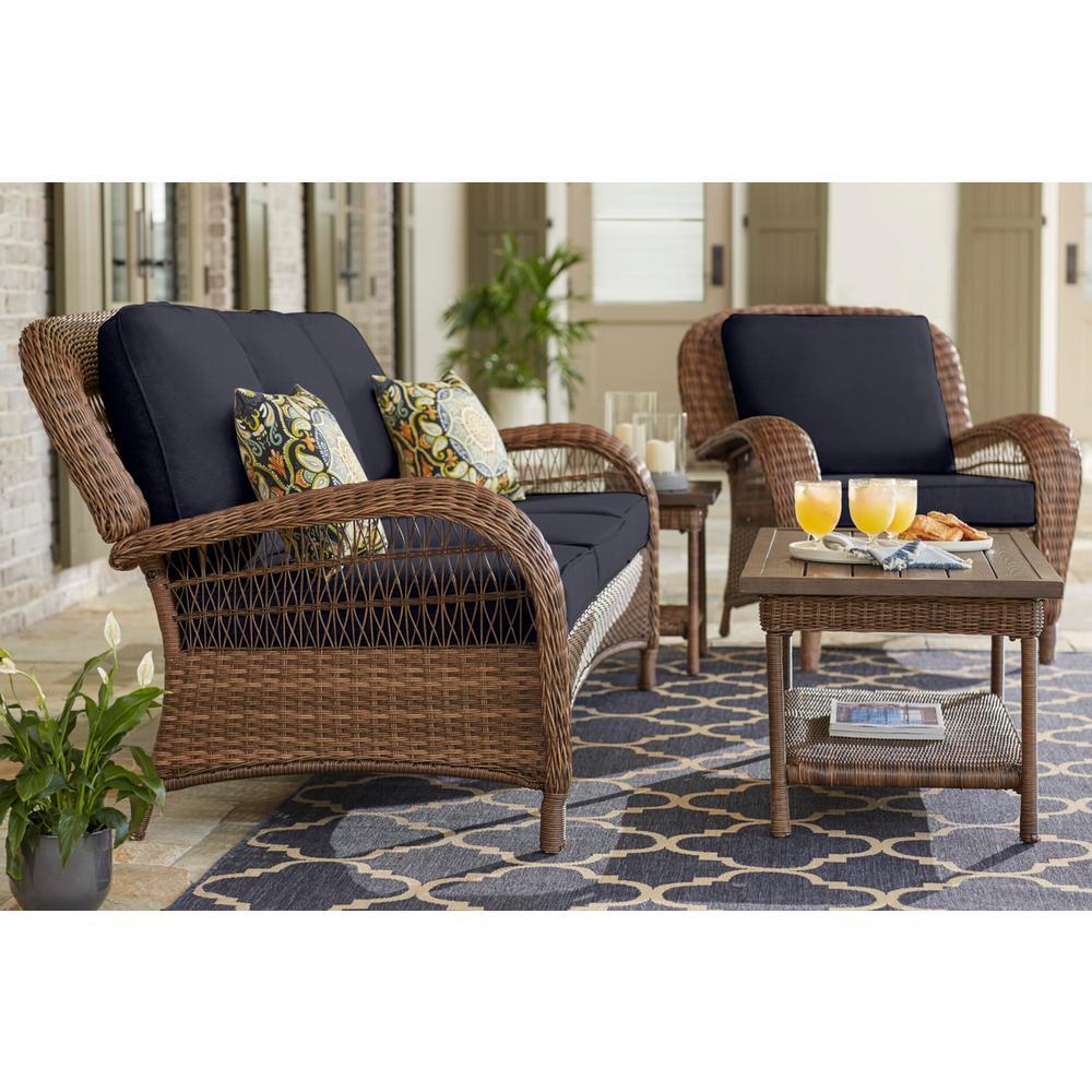 Beacon Park Brown Wicker Outdoor Patio Sofa with CushionGuard Midnight Navy Blue Cushions