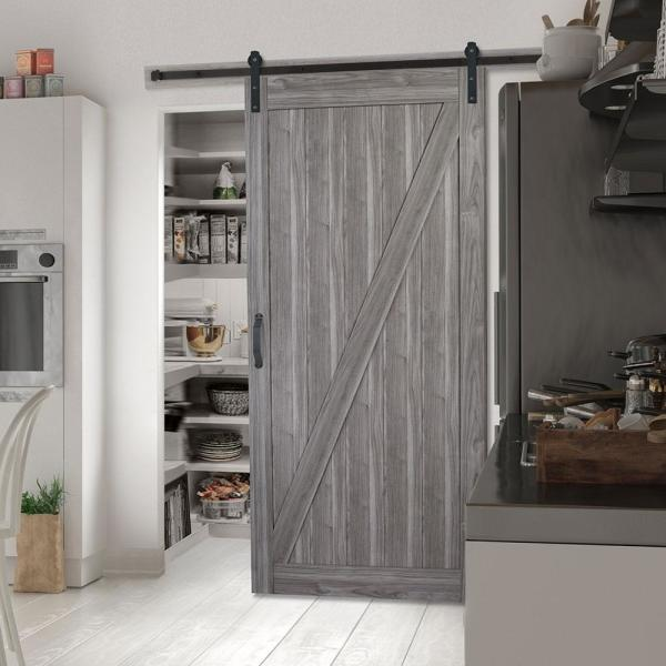 Masonite 36 In X 84 In Z Bar Ash Gray Finished Composite Interior Sliding Barn Door Slab With Hardware Kit 17118 The Home Depot