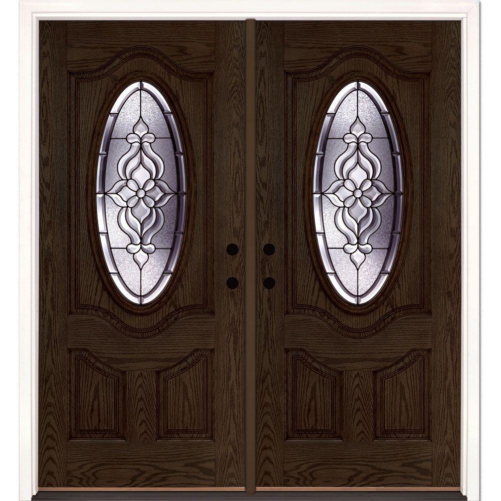Feather River Doors 74 in. x 81.625 in. Lakewood Patina 3/4 Oval Lite Stained Walnut Oak Right-Hand Fiberglass Double Prehung Front Door