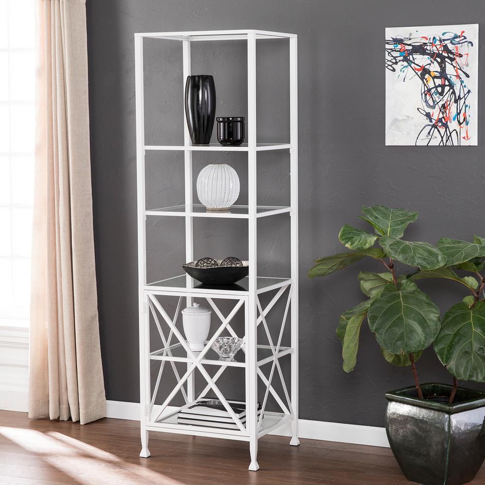 Kallon White Tall X-Frame Bookcase/Etagere