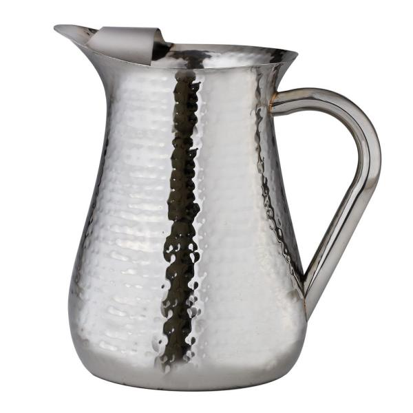 Elegance 72 oz.Hammered Stainless Steel Water Pitcher with Ice Guard