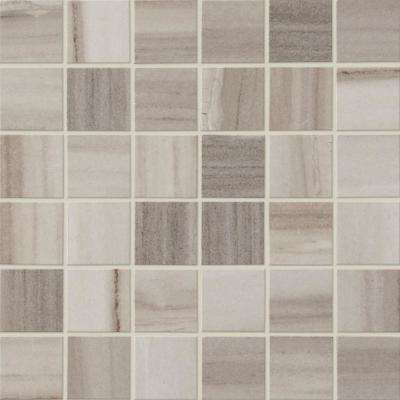 Marble View Linear Gray Marble Matte 12 in. x 12 in. x 9.5mm Porcelain Mosaic Floor and Wall Tile (0.96 sq. ft. / piece)