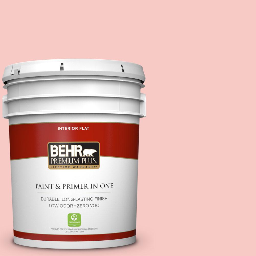 BEHR Premium Plus 5 gal. #160C-2 Flush Pink Flat Zero VOC Interior Paint and Primer in One