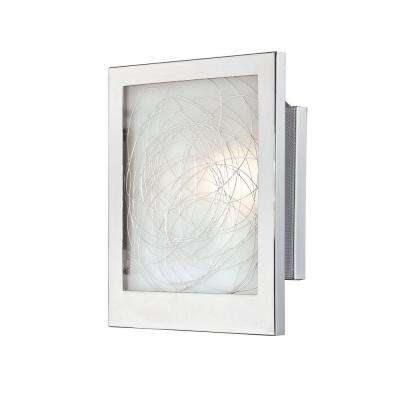 Designer Collection 1-Light Chrome Sconce with White Glass
