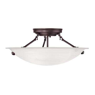 3-Light Bronze Flushmount with White Alabaster Glass Shade