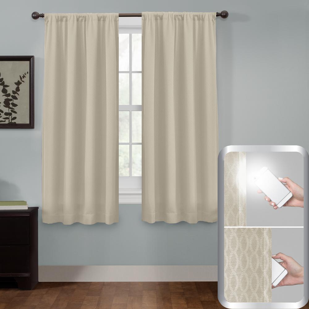Maytex Certified 100% Blackout Jamie Smart Curtain Window Curtain Panel 50 in. W x 63 in. L Stone
