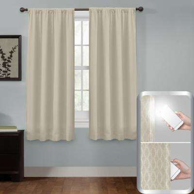 Certified 100% Blackout Jamie Smart Curtain Window Curtain Panel 50 in. W x 63 in. L Stone