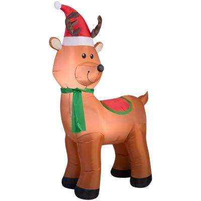 41.34 in. W x 22.84 in. D x 72.05 in. H Lighted Inflatable Reindeer with Santa Hat