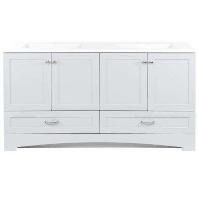Lancaster 60.25 in. W x 18.75 in. D Bath Vanity in Pearl Gray with Cultured Marble Vanity Top in White with White Sinks