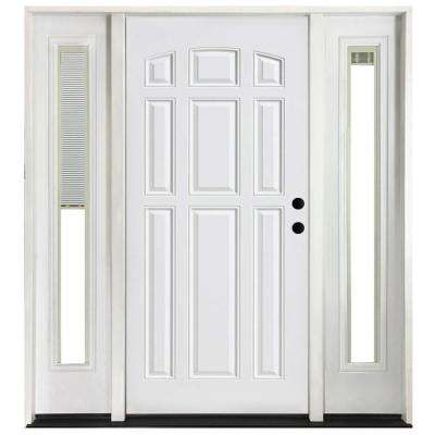 68 in. x 80 in. 9-Panel Primed White Left-Hand Steel Prehung Front Door with 14 in. Mini Blind Sidelites 4 in. Wall