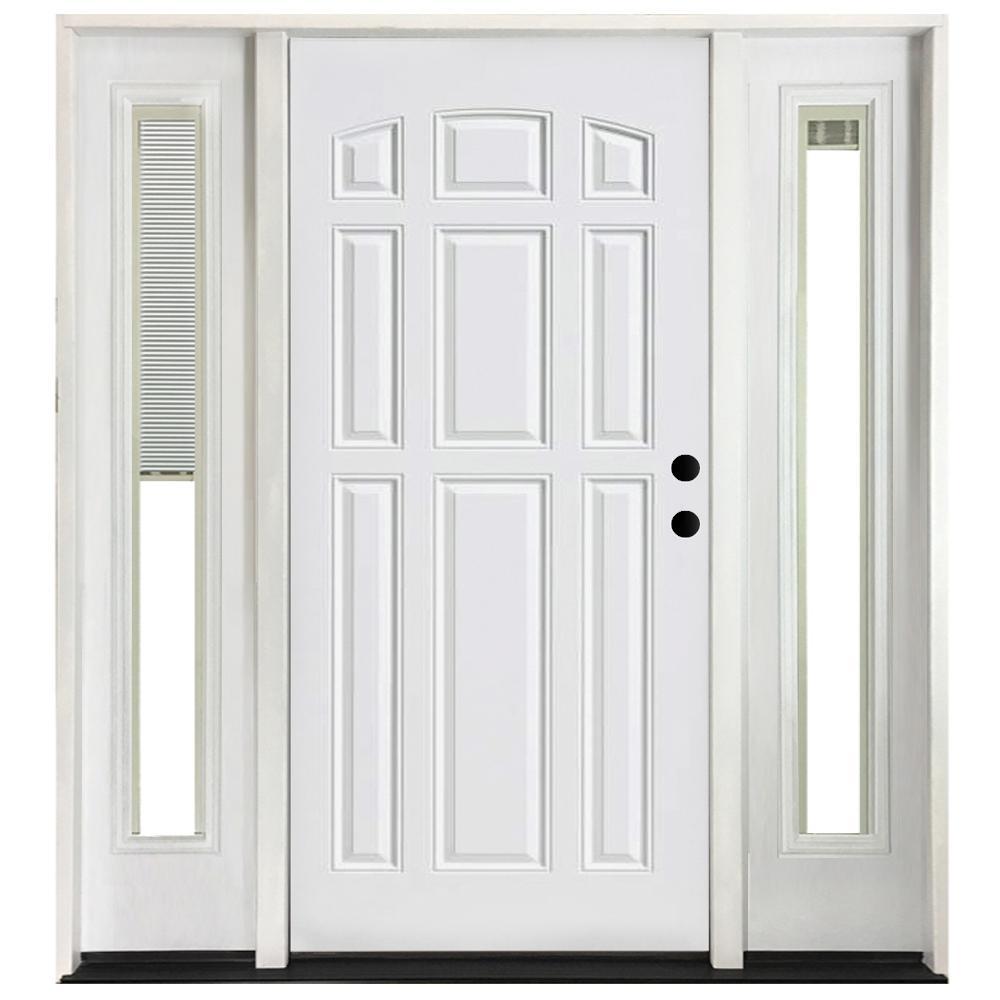 68 in. x 80 in. 9-Panel Primed White Left-Hand Steel Prehung Front Door with 14 in. Mini Blind Sidelites 4 in. Wall