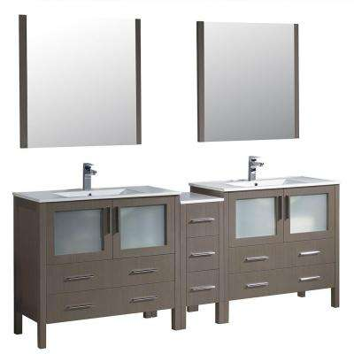 Torino 84 in. Double Vanity in Gray Oak with Ceramic Vanity Top in White with White Basins and Mirrors