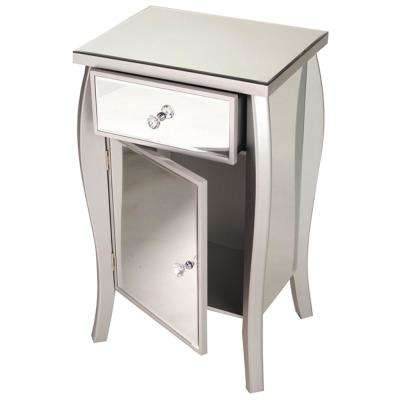 Shelly Assembled 18.75 in. x 18.75 in. x 14.5 in. Tall Accent Storage Cabinet with Glass Drawer in Silver Wood