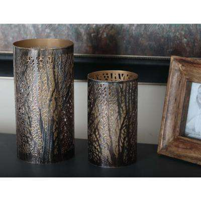 12 in. x 6 in. Iron Hurricane Candle Holders in Bronze Brass with Tree Branch Cutouts (Set of 3)