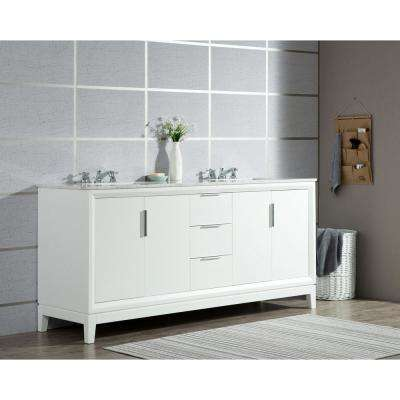 Elizabeth 72 in. Pure White With Carrara White Marble Vanity Top With Ceramics White Basins