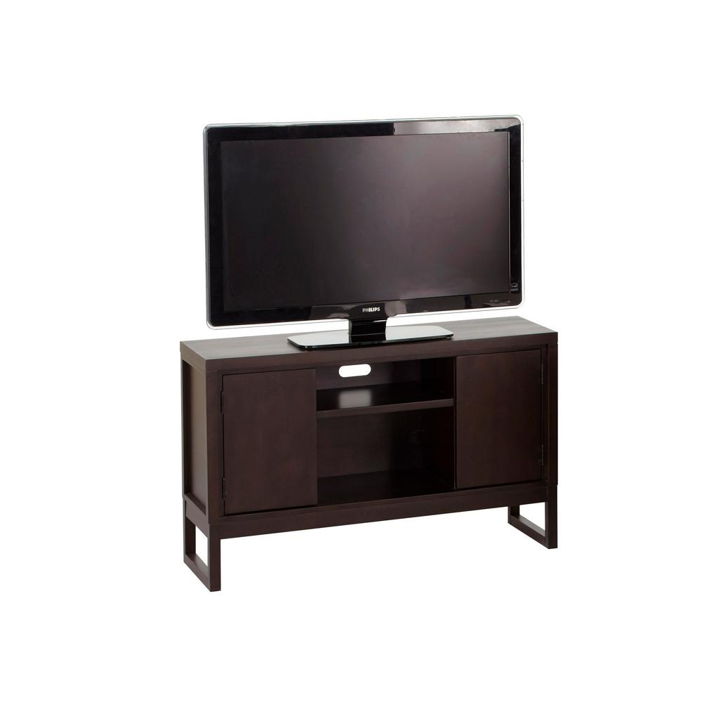 Athena 50 in. Dark Chocolate Wood TV Stand Fits TVs Up to 55 in. with Storage Doors