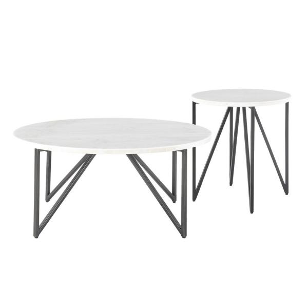 Picket House Furnishings Kinsler 2 Piece Occasional Table Set In Black Marble Ccr1002pc The Home Depot