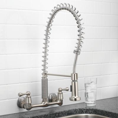 2-Handle Wall-Mount Pull-Down Sprayer Kitchen Faucet in Stainless Steel