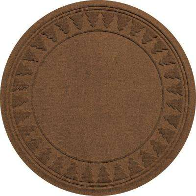 Aqua Shield Dark Brown 35 in. Round Pine Trees Under the Tree Mat