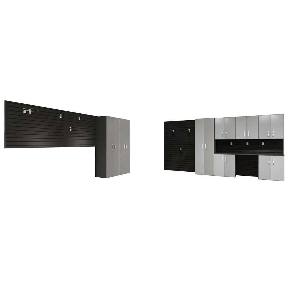 Modular Wall Mounted Garage Cabinet Storage Set with Workstation/Accessories - Black/Platinum Carbon Fiber (19-Piece)