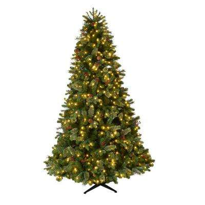 7.5 ft. Pre-Lit LED Westwood Fir Artificial Christmas Tree w/ Pine Cones and Berries and 650 Warm White Micro-Dot Lights