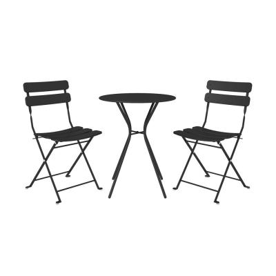 3-Piece Steel Outdoor Patio Bistro Set in Black