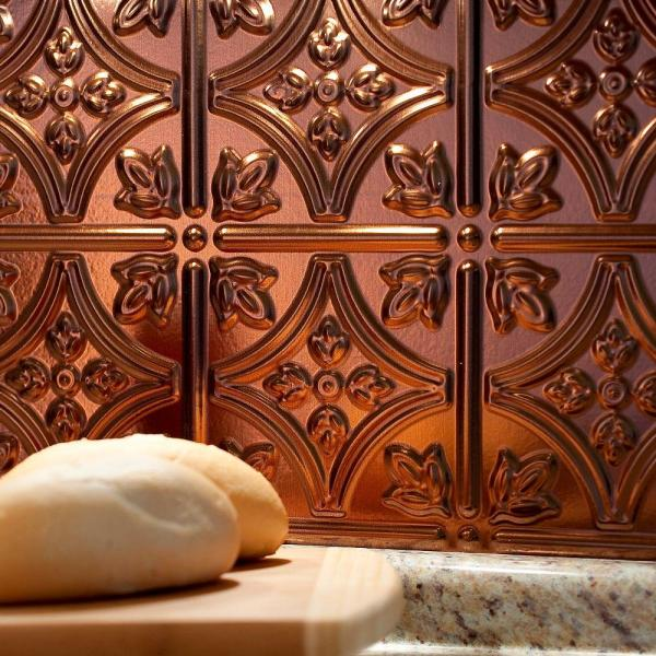 18 x 24 Panel Fasade Easy Installation Traditional 10 Oil-Rubbed Bronze Backsplash Panel for Kitchen and Bathrooms