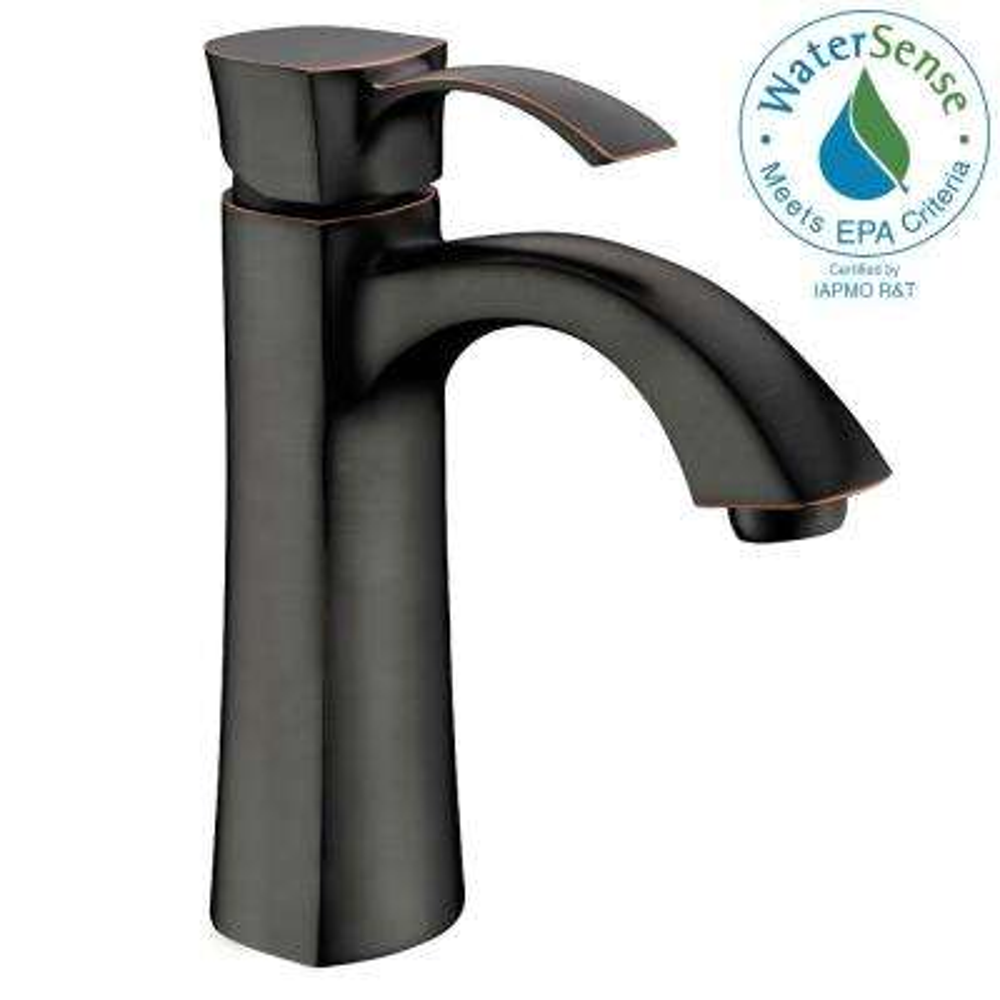 Rhythm Series Single Hole Single-Handle Mid-Arc Bathroom Faucet in Oil Rubbed Bronze
