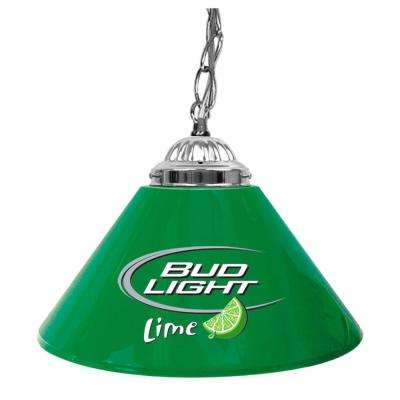 Bud Light Lime 14 in. Single Shade Green and Silver Hanging Lamp