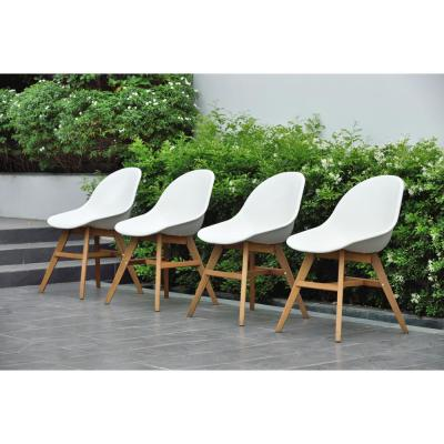 Carilo Deluxe Wood Patio Dining Chair (Set of 4)